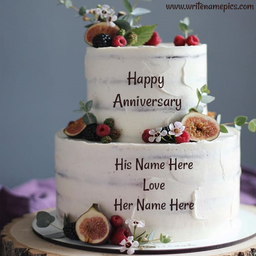 Happy Anniversary wishes Cake Image with Couple Name