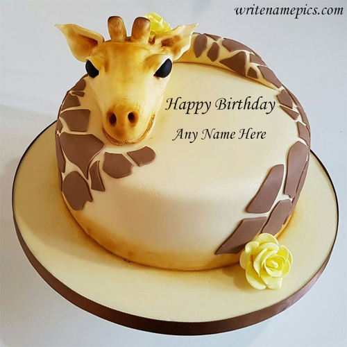 Happy Birthday Giraffe theme Cake With Name Edit