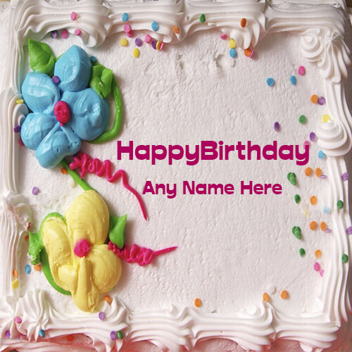 Happy Birthday Real Cake photo with name free edit