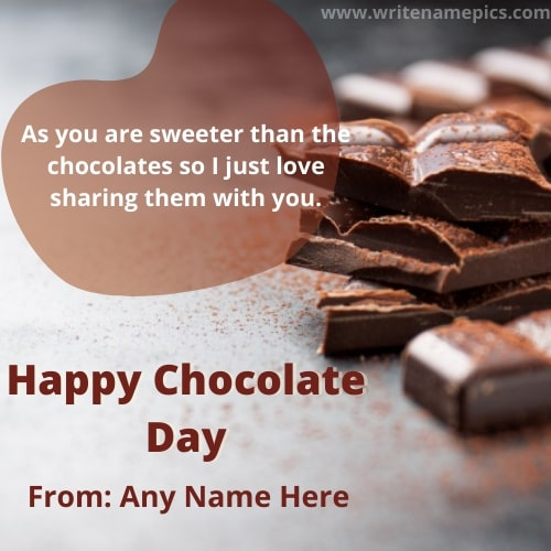 Happy Chocolate Day Greetings with Name Edit