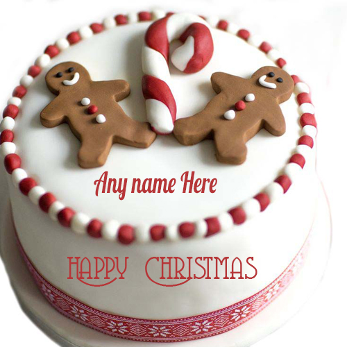 Happy Christmas red and white cake for kids