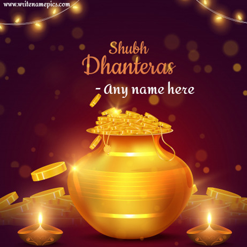 Happy Dhanteras Greetings Card with Name Online