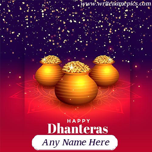 Happy Dhanteras Greetings card online free name Editor