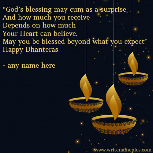Happy dhanteras wishes greeting card with name pic m4hsunfo