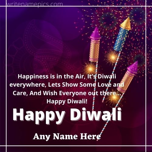 Happy Diwali greetings cards with name online free Editor