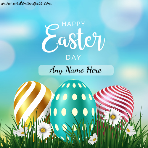 Happy Easter Day Card with Name Editing Image