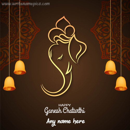 Happy Ganesh Chaturthi card with Name editor Free online