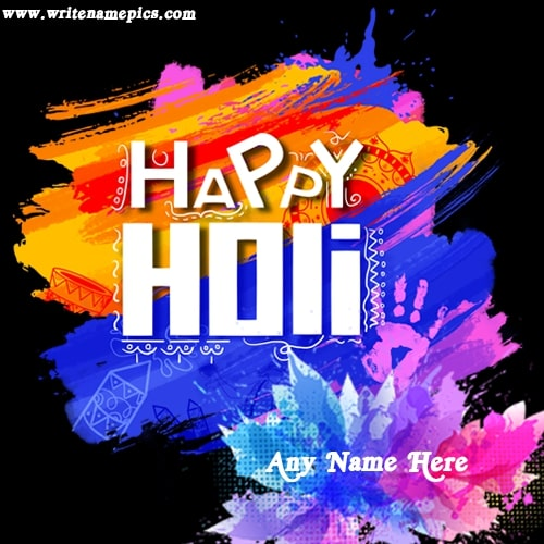 Happy Holi 2021 Greeting Card with Name