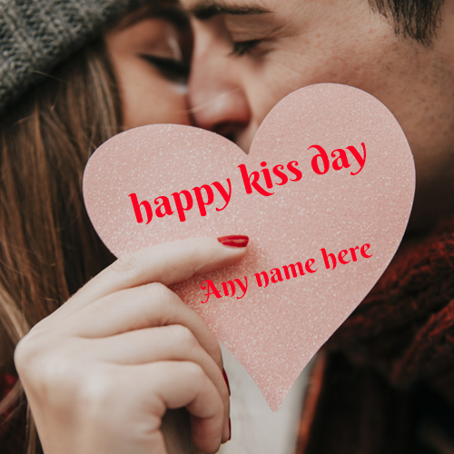 Happy Kiss Day wishes greeting  card with name pic