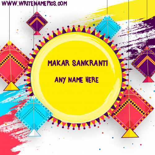 Happy Makar Sankranti card with Name Image