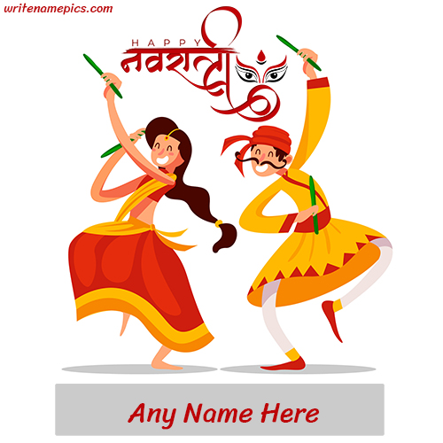 Happy Navratri 2022 Card with Name editor