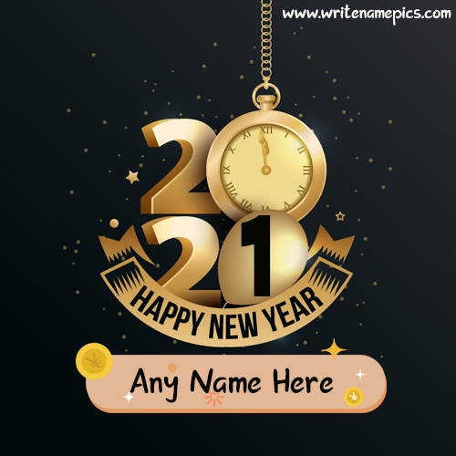 Happy New Year 2021 greetings wish card with name online free