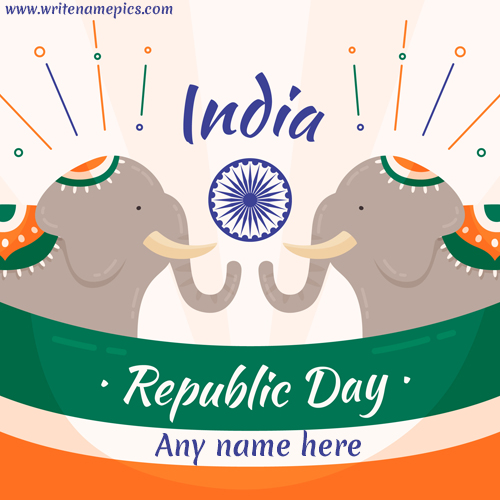 Happy Republic day wish card with name image
