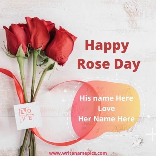 Happy Rose day with Romantic Couple Name Editor