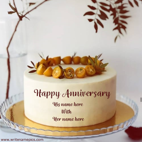 Happy Wedding Anniversary greeting cake pic