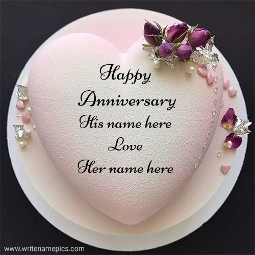Happy anniversary classy pink heart cake image with couple name