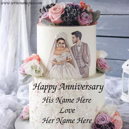 Happy anniversary couple image cake with couple name