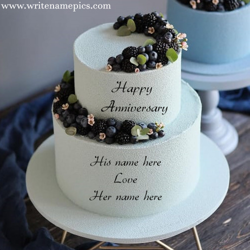 Happy anniversary double cake with couple name
