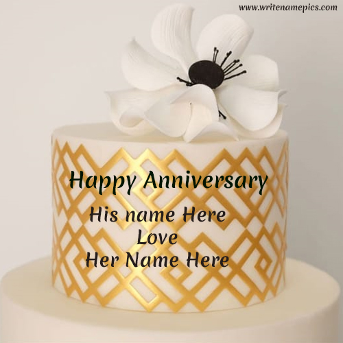 Happy anniversary white cake with couple name editor