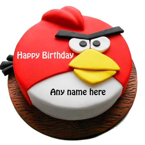 Happy birthday Angry bird cake with name
