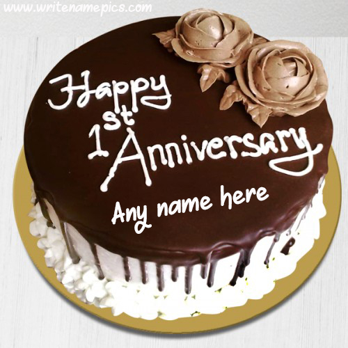 Happy first Anniversary Cake with Couple Name