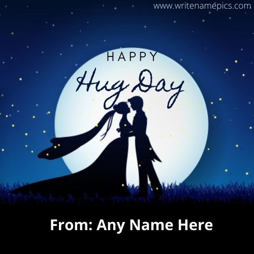 Happy hug day quotes card with name Free edit