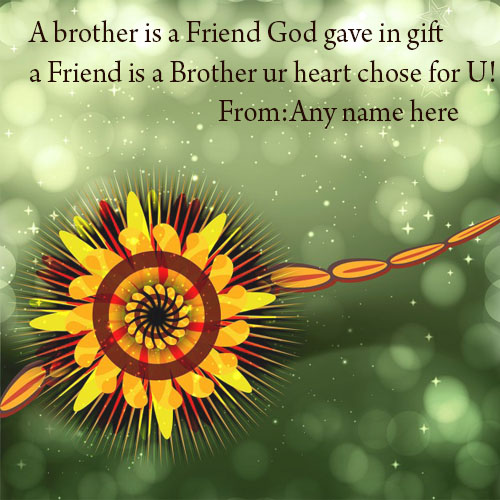 Happy raksha bandhan wishes quotes greeting card with name