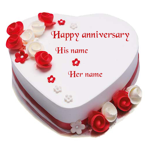 Heart Shape Red and White Rose Happy Anniversary Cake