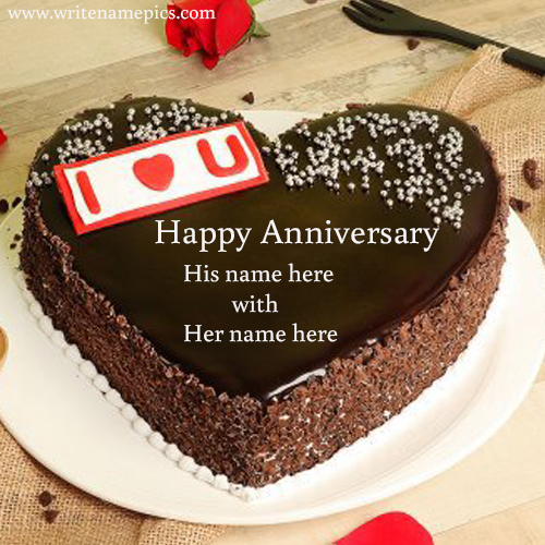 I love you happy anniversary with name cake pic