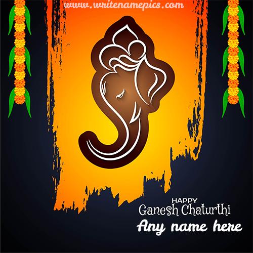 Lord Ganesh Chaturthi Celebration Name Greeting Card