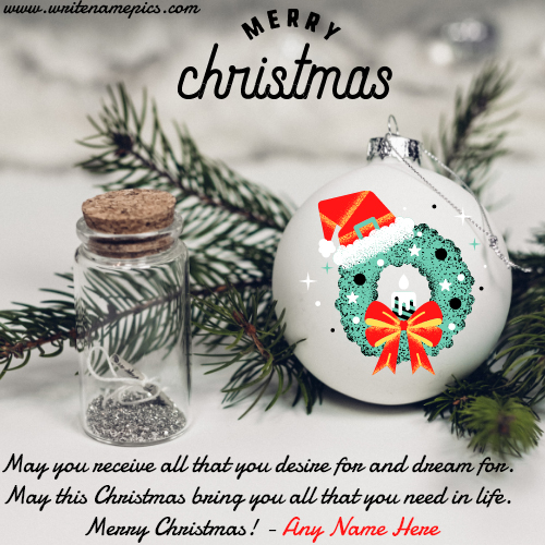 Merry Christmas 2020 Card with Name free edit