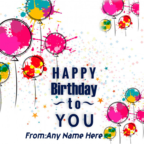 Online Wishes Happy birthday with name image editing
