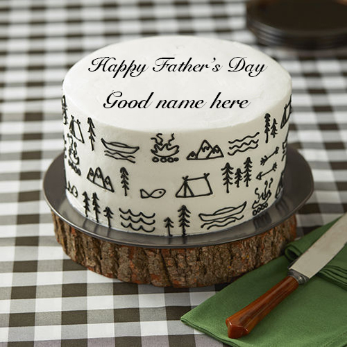 Online Wishes happy fathers day cake 2018 image with name
