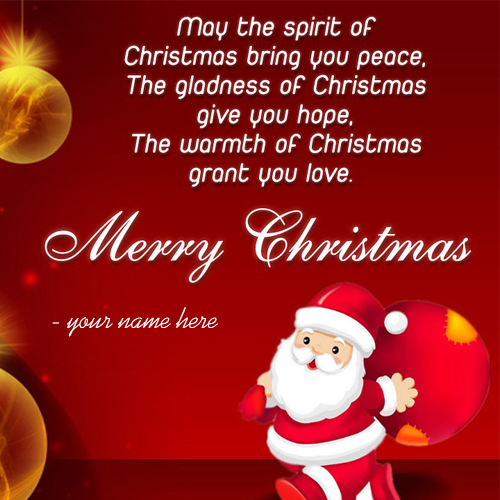 Online write name on merry christmas wishes greeting card