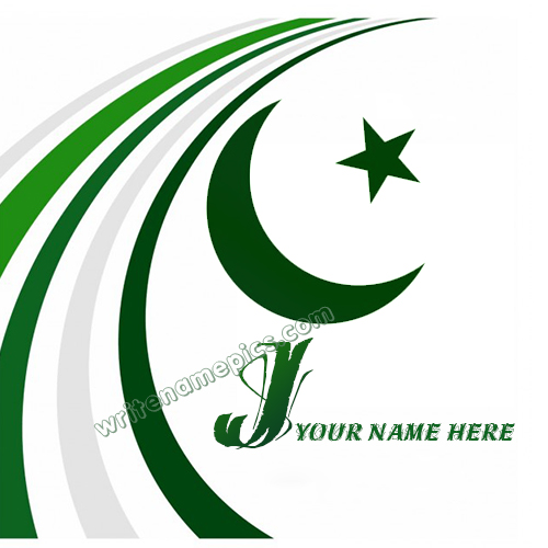 Pakistan Flag with J Alphabet name Whatsapp Profile images