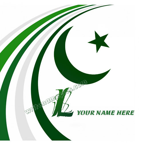 Pakistan Flag with L Alphabet name Whatsapp Profile picture