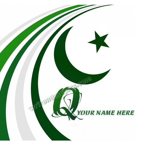 Pakistan Flag with Q Alphabet name Whatsapp Profile picture