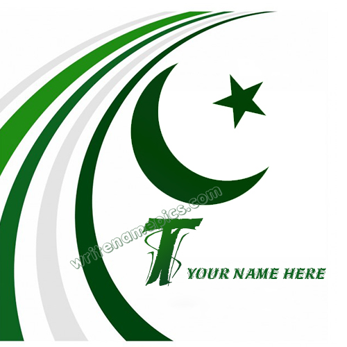 Pakistan Flag with T Alphabet name Whatsapp Profile picture