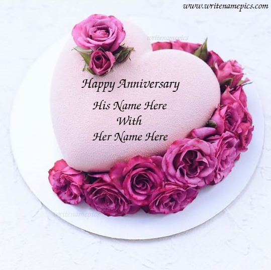 Pink Rose Heart Shape Anniversary Cake With Name