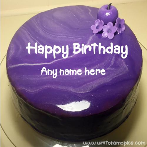 Purple birthday cake with name edit