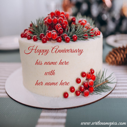 Redberry Anniversary white chocolate Cake with Couple Name