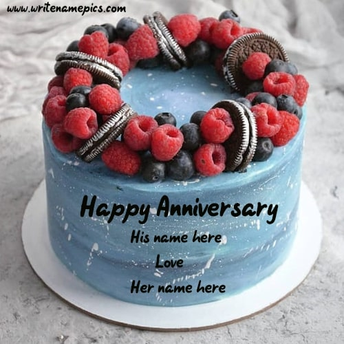 Sky Blue Berry Anniversary Cake with Name of Couple