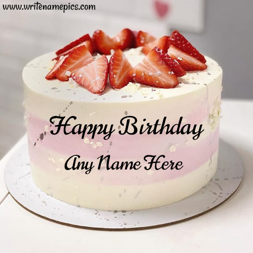 Sweet Strawberry Birthday Cake with Name edit