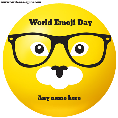 World Emoji Day Greeting Cards and Pictures with name