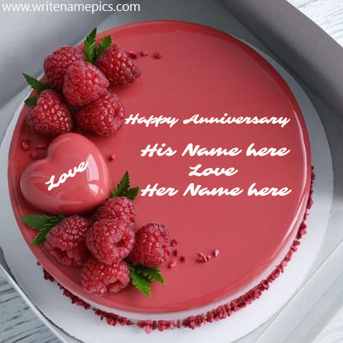 Write Couple Name on Happy Anniversary Cake Pic