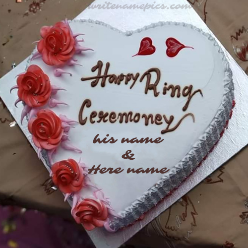 Write Couple Name on Happy Ring Ceremony Cake