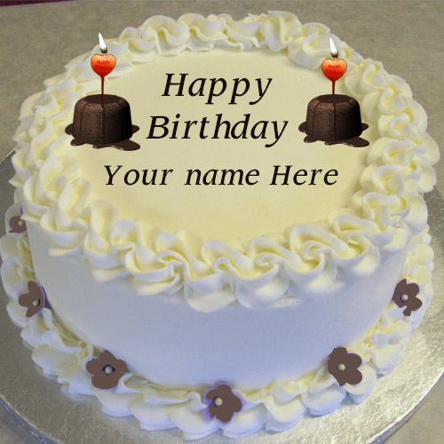 Images Of Birthday Cakes With Names And Candles : Write Name On Candle Birthday cake