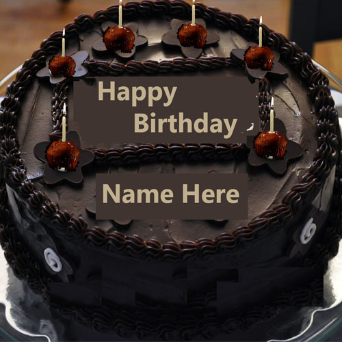 Birthday Cake Images To Write Name : Write Name On Chocolate Happy Birthday Cake With Candle