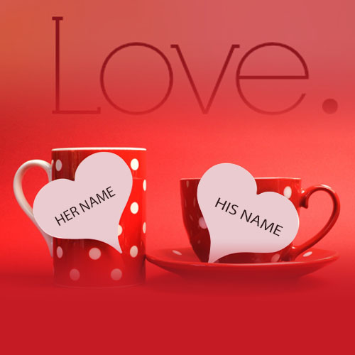 Write Name On love Heart Cup Images