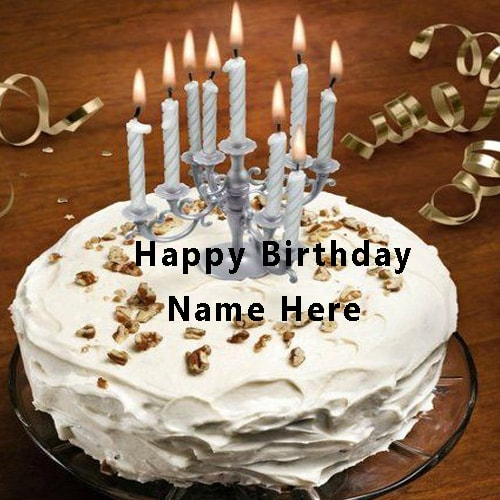 Write Name On Happy Birthday Cake With Candle